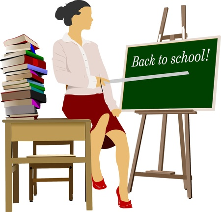 bibliophile: Woman teacher in classroom with book column. Back to school. Vector illustration