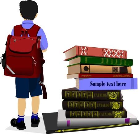 bibliophile:  Schoolboy and column books. Vector illustration