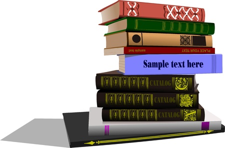 shelf with books: Vector illustration of column books Back to school