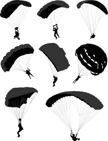 parapente: Grote set van parachutisten tijdens de vlucht. Vector illustratie Stock Illustratie
