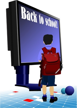 Schoolboy  going to school.. Back to school.  Monitor and books. Vector illustration Stock Vector - 10279438