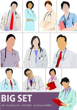 doctors and patient: Gran conjunto de siluetas de m�dico con estetoscopio. Ilustraci�n vectorial