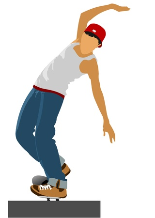 Teenager on skateboard. Vector illustration Stock Vector - 10279393