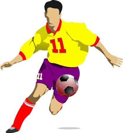 Los jugadores de fútbol. Ilustración del vector de color para los diseñadores