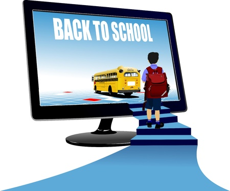back to school: Schoolboy upstairs to school bus. Back to school. Vector illustration