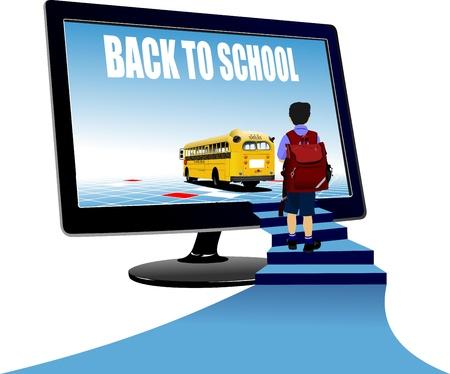 Schooljongen naar boven, naar schoolbus. Terug naar school. Vector illustratie