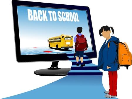 School boy and school girl  upstairs to school bus. Back to school. Vector illustration Stock Vector - 10291709