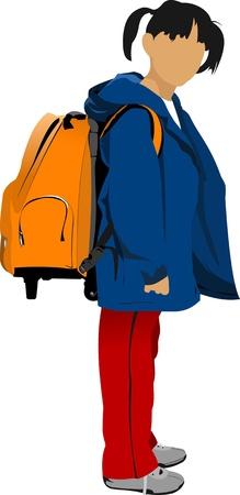 School girl is going to school. Back to school. Vector illustration Vector