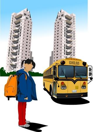 akademik: Akademik i szkolny autobus. Dziewczyna w szkole. Powrót do szkoły. Ilustracji wektorowych