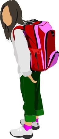 schoolbag: School girl is going to school. Back to school. Vector illustration Illustration