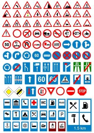 road warning sign: Iconos de signo de carretera. Se�ales de tr�fico. Ilustraci�n vectorial
