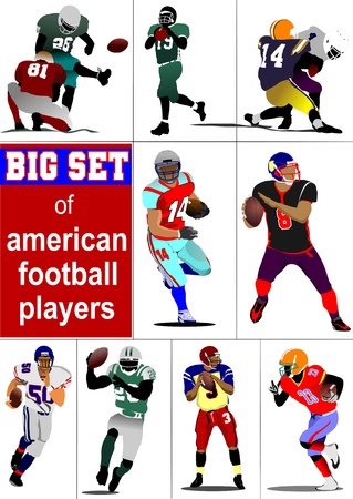 Big set of American football player s silhouettes in action. Vector illustration