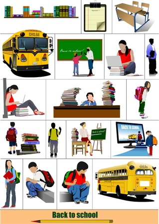vector images: Back to school. Big set of School images. Vector