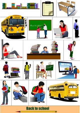 Back to school. Big set of School images. Vector Vector
