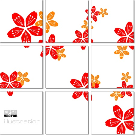 Vector Illustration geometrical mosaic pattern with flower image Vector