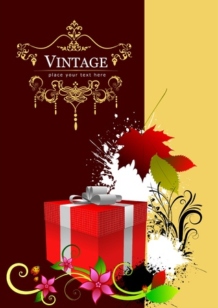 Cover for brochure with red gift box and autumn red leaf