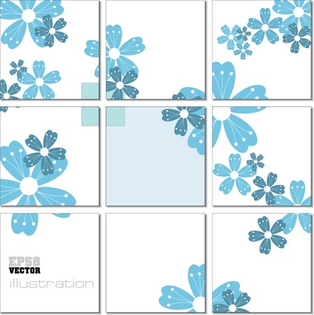 tile grout: Vector Illustration geometrical mosaic pattern in blue tones