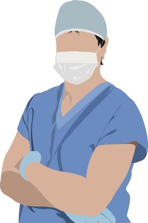 doctors and patient: Doctor en medicina. Cirujano. Ilustraci�n vectorial Vectores