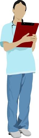 stagiaire: M�decin avec un st�thoscope. Vector illustration Illustration