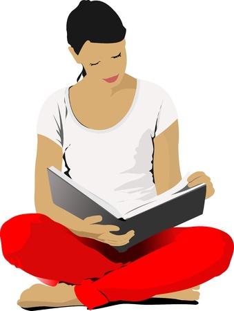 Jonge vrouw lezing boek.   Vector Illustratie