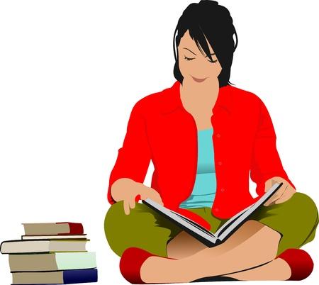 mujer leyendo libro: Mujer leyendo libro. Vectores