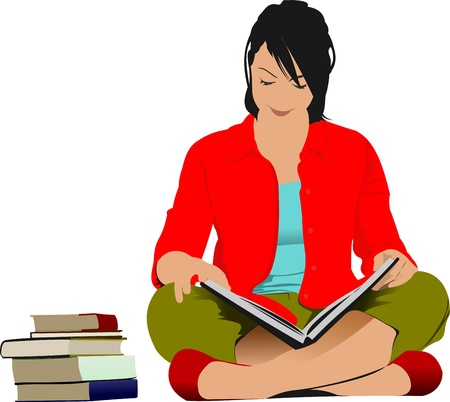 Woman reading book.  Illustration