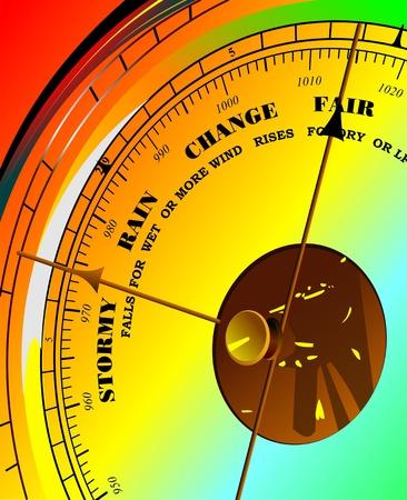 atmospheric pressure: Colored illustration of barometer.