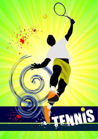 tennis racquet: Cartel de jugador de tenis. Ilustraci�n color para dise�adores Vectores