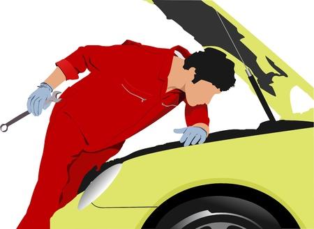 onderhoud auto: Illustratie van een automonteur