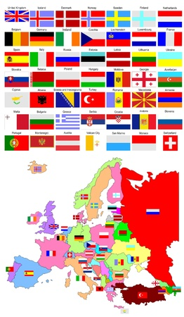 northern ireland: Map of Europe with country flags