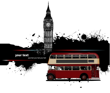 Grunge banner with London and red doubledecker router images. Vector