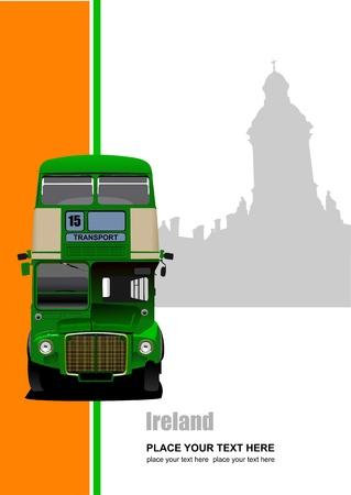Vintage green bus illustration.  Stock Vector - 10556814