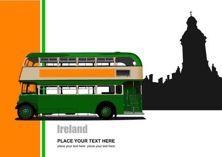 Vintage green bus illustration. Illustration