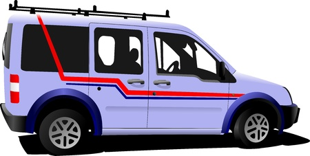 minibus: Light purple delivery minibus.