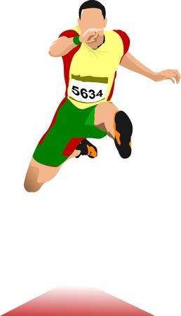 salto largo: Hombre de salto de longitud. Deporte. Pista y campo.
