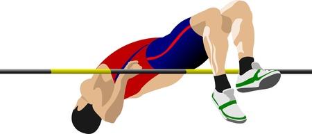 atletismo: El hombre alto saltando. Pista y campo.