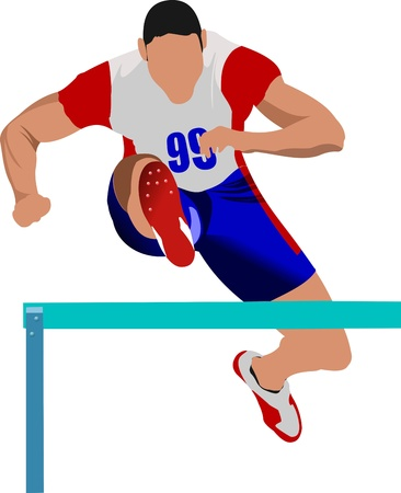 track and field: Man running hurdles.