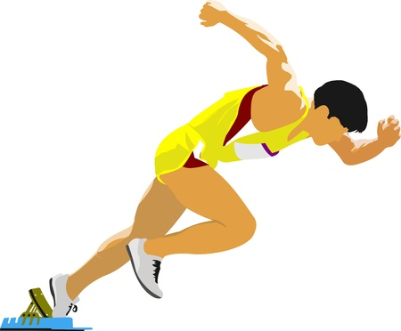 athletics track: Short-distance runner. Start.  Illustration