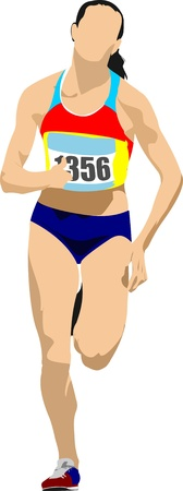 athletics track: Woman Long-distance runner.