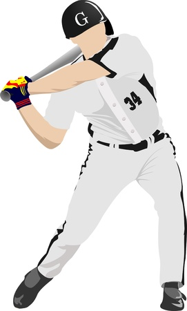 Baseball player. Vector