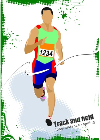 man in field: Long-distance runner. Poster. Illustration