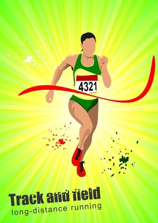 Long-distance runner. Poster.  Vector
