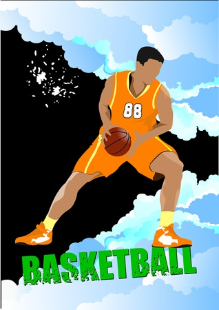 Basketball players poster. Colored Vector illustration for designers Vector