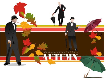 Abstract vector autumnal leaves pattern background with woman and man with umbrella. Vector Vector