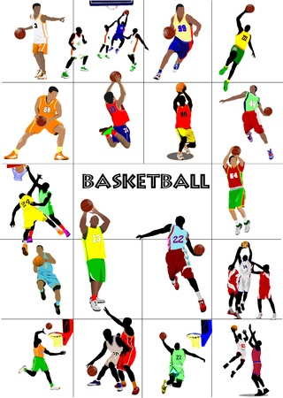 Big set of Basketball players. Colored Vector illustration for designers Illustration