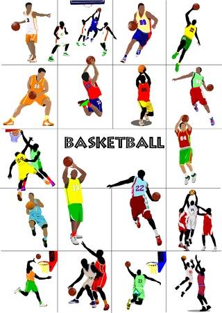 Big set of Basketball players. Colored Vector illustration for designers Illustration