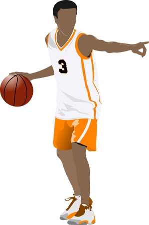 jump shot: Basketball players. Colored Vector illustration for designers