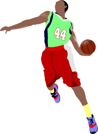 Basketball players. Colored Vector illustration for designers Vector