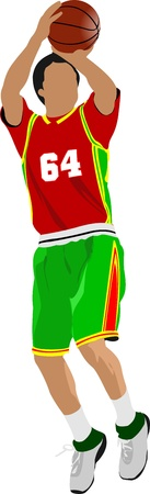 action figure: Basketball players. Colored Vector illustration for designers