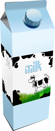carton: Dairy produces in carton box. Milk. Vector